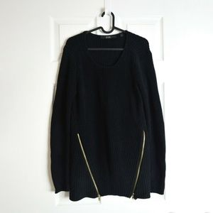 GUESS Black Chunky Knit Zip Sweater Sz L